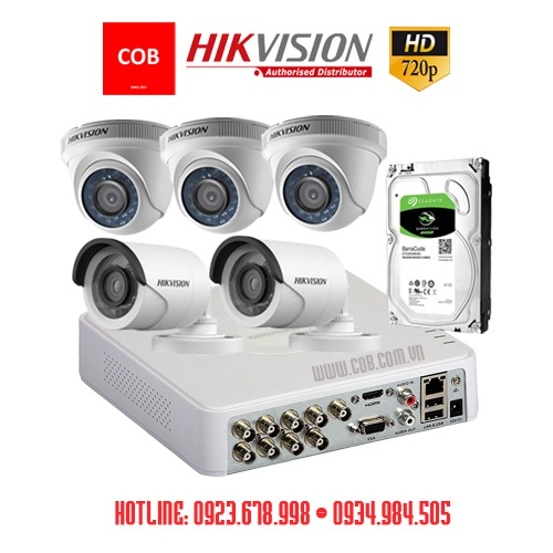 BỘ 5 Camera Hikvision Hd